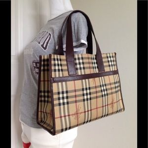 Burberry Haymarket Check Classic Leather Tote